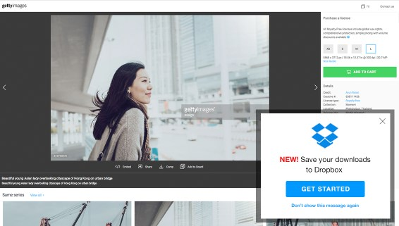 Integración de Getty Images con Dropbox